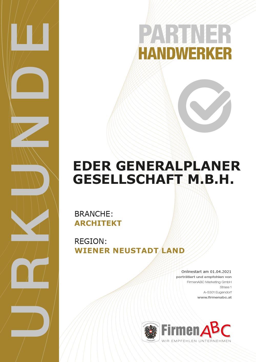 Urkunde Partner Handwerker Eder Generalplaner, empfohlen von FirmenABC